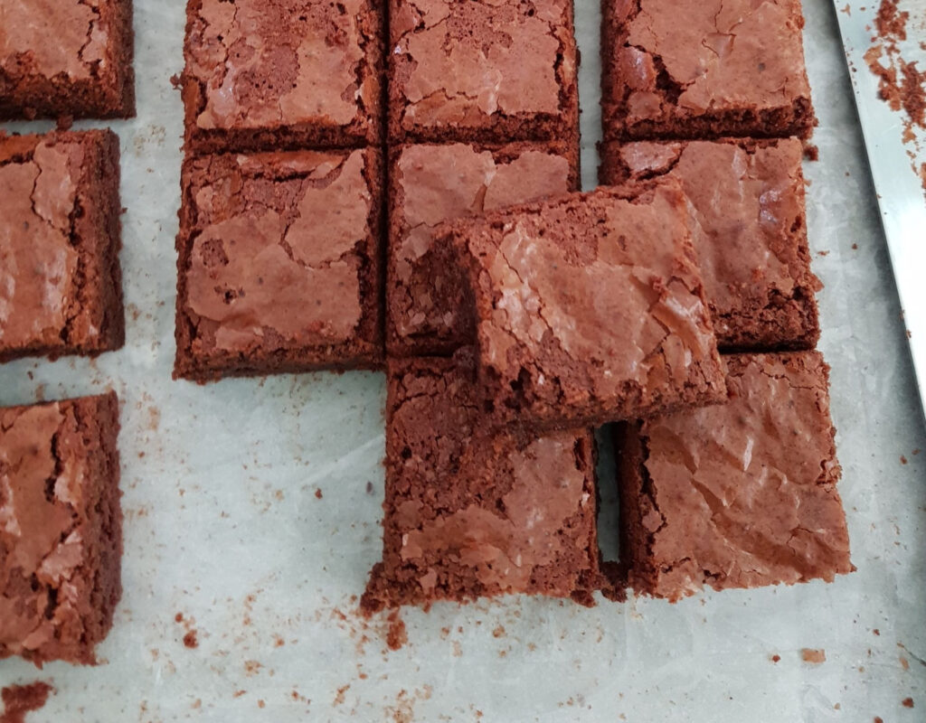 Perfect brownies . Chewy and gooey!