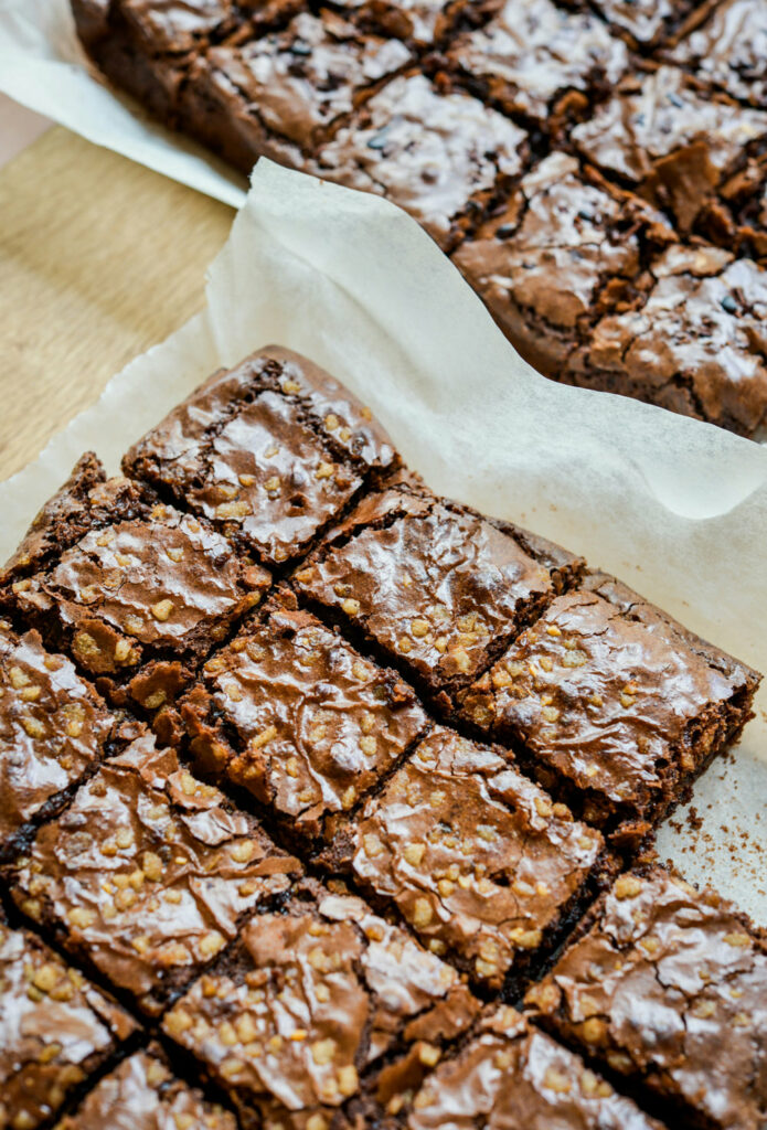 Nutty, fudgy brownies with a crackly top