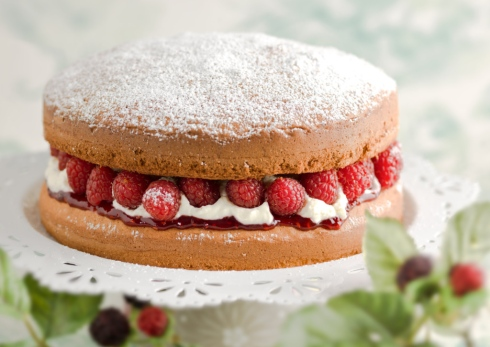 Victoria sandwich cake with a filling of raspberries