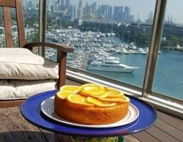 Sugee cake with caramelised oranges